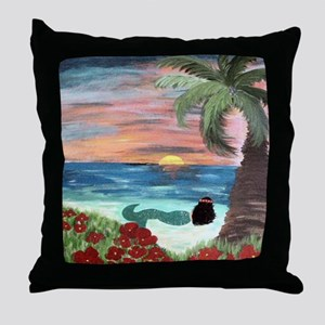 Brunette Mermaid Throw Pillow