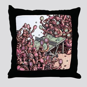 Crowded Ping Pong Game Throw Pillow
