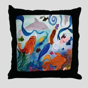 Mermaid & Tropical Fish Party Throw Pillow