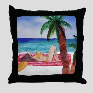 Sunning on the Beach Throw Pillow