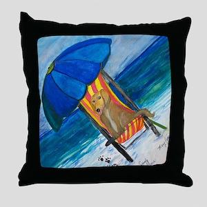 Sandy Paws Dog on the Beach Throw Pillow