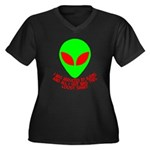 Abducted By Aliens Women's Plus Size V-Neck Dark T