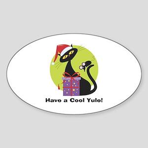 Cool Yule Kitty Oval Sticker