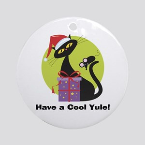 Cool Yule Kitty Ornament (Round)