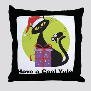 Cool Yule Kitty Throw Pillow