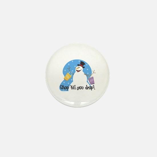 Shopping Snowman Mini Button (10 pack)
