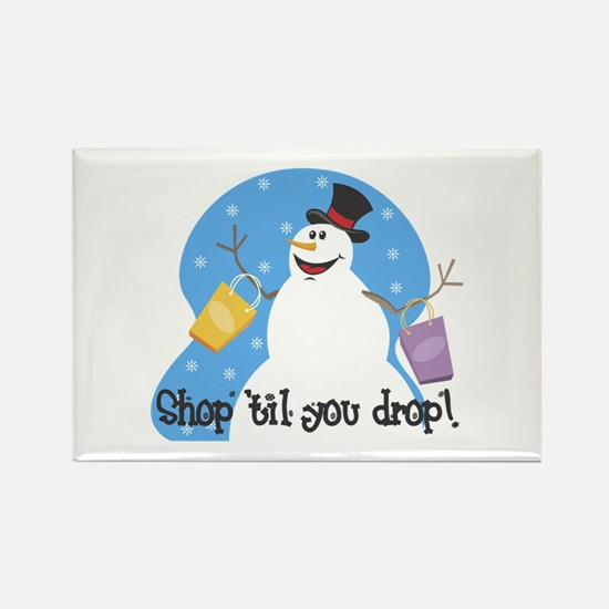 Shopping Snowman Rectangle Magnet