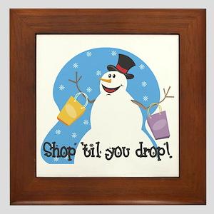 Shopping Snowman Framed Tile