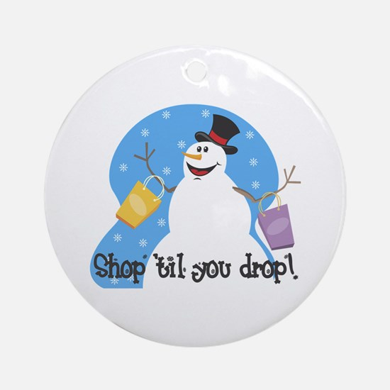 Shopping Snowman Ornament (Round)