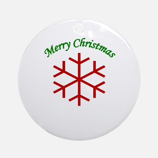 Merry Christmas Snowflake Ornament (Round)