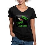 Women's V-Neck Krill Lives Dark T-Shirt