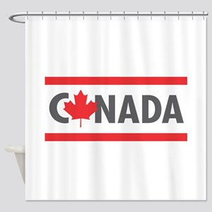CANADA - Red Design Shower Curtain