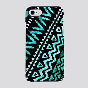 tribal teal aztec pattern iPhone 8/7 Tough Case
