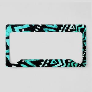 tribal teal aztec pattern License Plate Holder
