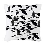 Little Auk Flock Woven Throw Pillow