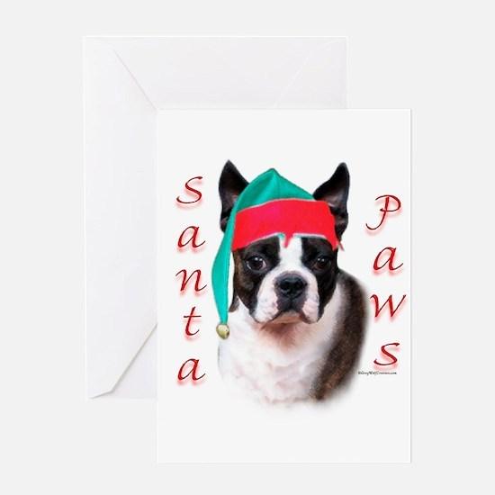 Santa Paws Boston Terrier Greeting Card