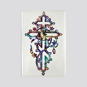 Colorful Ornate Cross Rectangle Magnet
