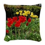 Red & Yellow Tulips Woven Throw Pillow