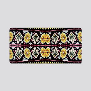 yellow floral tribal patter Aluminum License Plate