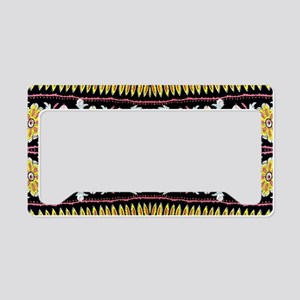 yellow floral tribal pattern License Plate Holder