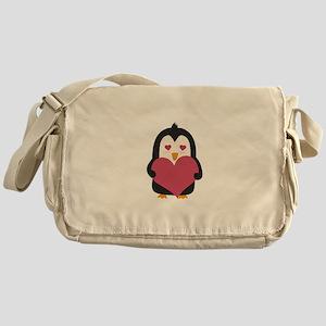 Penguin with a heart Messenger Bag
