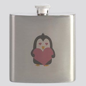 Penguin with a heart Flask