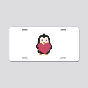 Penguin with a heart Aluminum License Plate