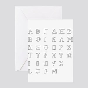 Greek Alphabet Isolated Greeting Cards