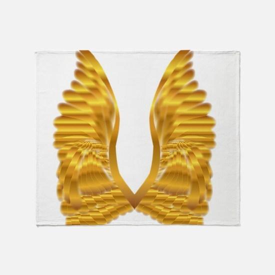Gold Angel Wings Throw Blanket