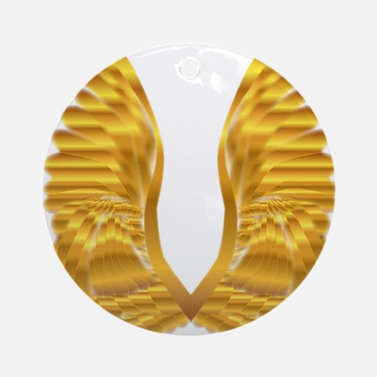 Gold Angel Wings Round Ornament