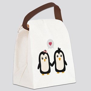 Penguins in love Canvas Lunch Bag
