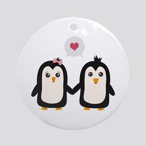 Penguins in love Round Ornament
