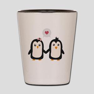 Penguins in love Shot Glass
