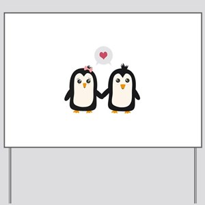 Penguins in love Yard Sign
