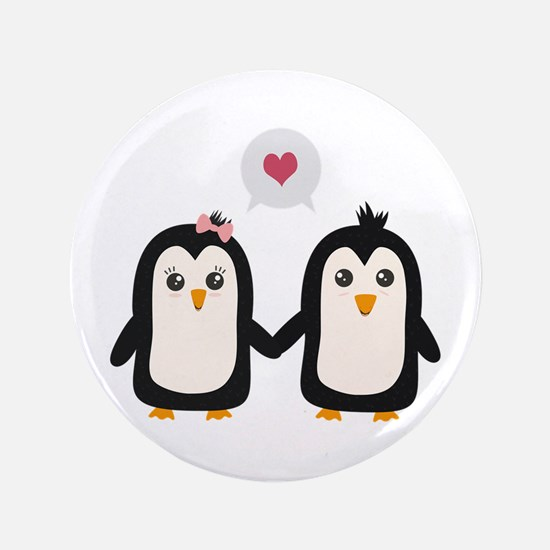 Penguins in love Button