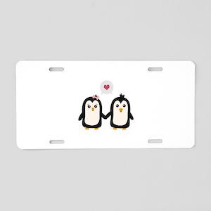 Penguins in love Aluminum License Plate