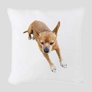 Chiweenie On Break Woven Throw Pillow