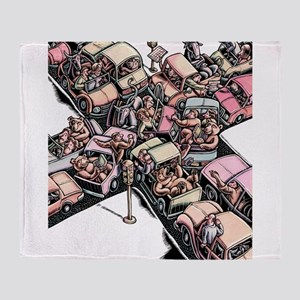 Bull and Bear Traffic Jam Throw Blanket
