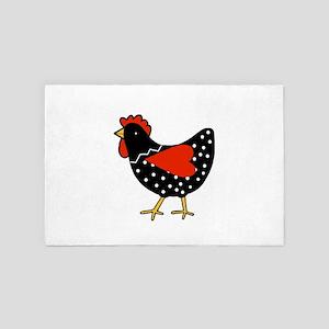 Cute Polka Dot Chicken 4' x 6' Rug