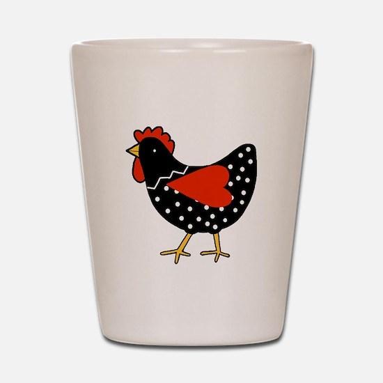 Cute Polka Dot Chicken Shot Glass
