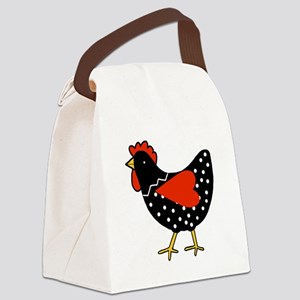 Cute Polka Dot Chicken Canvas Lunch Bag