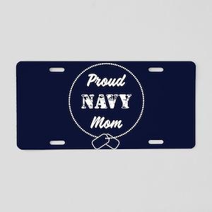 Proud Navy Mom Aluminum License Plate