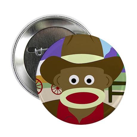 """Sock Monkey Cowboy Sheriff 2.25"""" Button"""