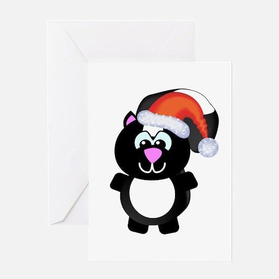 Cute Skunk Santa Claus Greeting Card