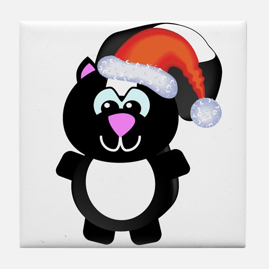 Cute Skunk Santa Claus Tile Coaster