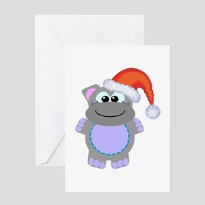 Cute Chrismas Hippo Santa Greeting Card