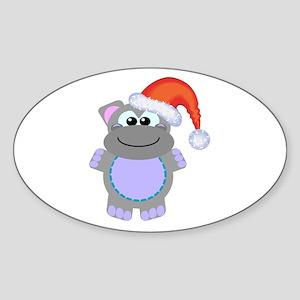 Cute Chrismas Hippo Santa Oval Sticker