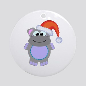 Cute Chrismas Hippo Santa Ornament (Round)