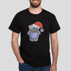 Cute Chrismas Hippo Santa Dark T-Shirt