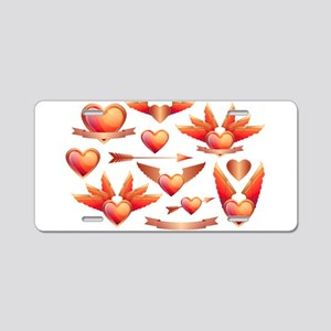 Hearts & Wings & Wi Aluminum License Plate